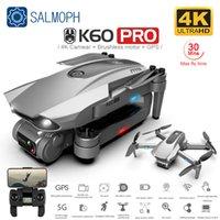 Salmof K60 GPS Drone ile 5G WiFi FPV 4 K HD Çift Kamera Fırçasız Optik Akış RC Quadcopter Beni Takip Edin Mini Dron vs SG108 EX5
