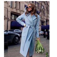 HAPEDY Women's Jackets Coats Medium-long Belt Wool & Blends Coat Turn-down Collar Solid Color Female Outerwear 2020 New