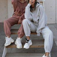 2021 Kadınlar İki Parçalı Kıyafetler Sonbahar kadın Eşofman Boy Hoodie ve Pantolon Rahat Spor Takım Elbise Kış 2 Parça Kadın Set