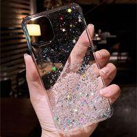 Étuis de téléphone cellulaire Sling Glitter pour iPhone 11 12 13 Pro Max XR XS X 7 8 6S Plus Couverture arrière transparente en silicone souple