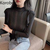 Suéter das Mulheres Korobov Elegante Meio Meio Turtleneck Mulheres Korean Flare Manga Ruffles Sueter Mujer Fino Básico Pullovers 794801