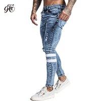 Gingtto Skinsy Jeans Mounts Slim Fit Разорванные мужские джинсы Большие и высокие растягивающиеся голубые мужчины Джинсы для мужчин Проблемная эластичная талия ZM49 201120