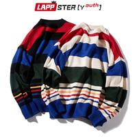 Lappster-Youth Hombres Coreanos Harajuku Suéteres Sujetadores Streetwear para hombre Rayas Vintage Streetwear O-cuello suéter otoño de gran tamaño Tops 201012