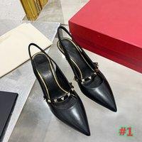 2021 Marca Zapatos de tacón alto para mujer Sandalias de tacón alto para mujer Zapatos de moda con remaches Sexy Bride Zapatos de tacón alto Heel 7 cm con caja