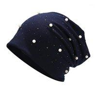 Berretto / cranio Cappucci 2021 Moda Autunno Cap Inverno Cap HeadGear Colore Pure Colore Perle Donne di alta qualità Testa morbida leggera di alta qualità 1