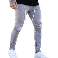 Мужские джинсы сексуальные отверстия сквапные мужчины повседневная одежда письма напечатанные карандаш брюки Jogger брюки джинсовые брюки