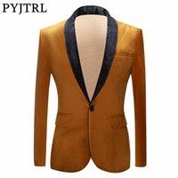 PYJTRL Sonbahar Kış Düğün Damat Şal Yaka Altın Blazer Erkekler için Parlak Kadife Takım Elbise Ceket Sahne Şarkıcılar Balo Slim Fit Blazers LJ201103