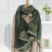 2020 Winter Leopard Drucken Kaschmirschal Damen Grün Warm Dicker Wollschal Für Frauen Schals und Tücher Damen Ponchos und Capes J1215
