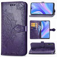 Телефон Чехлы для Huawei Наслаждайтесь 10S Кожа PU Цветы с щелевым Кошелька ручной ремешок Магнитная застежка (Model: Enjoy10S)