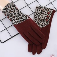 خمسة أصابع قفازات ليوبارد طباعة القفازات المرأة wintergloves للرجال مع الصوف t- ouch شاشة مؤشر الإصبع ركوب الدراجات الرياضية