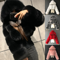اقتصاص الفراء فو الفراء معاطف والسترات النساء رقيق أعلى معطف مع هود الشتاء الفراء سترة معطف manteau فام 201016