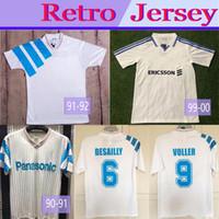 1999 2000 1992 Olympique de Marseille Retro Soccer Blusa 1990 1992 Vintage Futebol Clássico Delapena Ravanelli Pires Gallas Maurice Maillot
