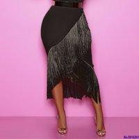 Высокая талия черные кисточки юбки нерегулярные эластичные Bodycon женщины весенние летние африканские бахромы скромные элегантные ретро Jupes Falads Q0119