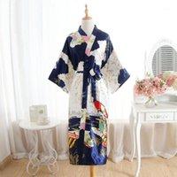 Vintage azul marinho mulher longo cetim robe kimono vestido dama de honra casamento sexy nightgown novty impressão banho sleepwear um tamanho1