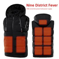 Men Electric Heated Hooded Heated Vest Cloth Jacket USB Ther...