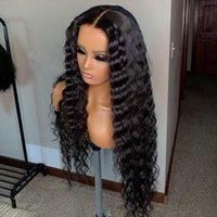 Cabelo Humano Longo Grosso Curly Remy brasileira perucas para mulheres Grosso profunda Curly 13x6 rendas frente Wigs