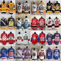 Homens Pittsburgh 66 Mario Lemieux Jersey Penguins 68 Jaromir Jagre New York Rangers Florida Panteras Hóquei Vintage CCM preto branco costurado