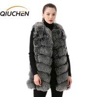 Qiuchen 2020 nova chegada real raposa mulheres mulheres colete moda veste frete grátis venda quente peles espessas lj201201
