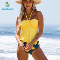 Beachsissi Halter Hee Fruit Print BandeAutankini Набор 2021 Симпатичные Девушка Горячие Продажи Новая Мода Лимон Печать Tankini Set Beachwear Q1230