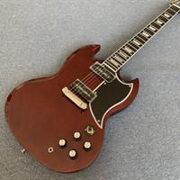 Tienda personalizada SG Guitarra eléctrica Vino rojo, conjuntos con incrustaciones de diapasón con bloques, diapasón de ébano, envío gratis 190713
