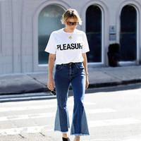 Jeans femmes pantalons évasés avec une courgette frangée bleu ciel bracelet jeans pantalons femmes jeans casse-tête pantalon vêtements femmes