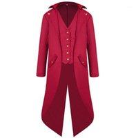 Uomo manica lunga Steampunk Giacca vittoriana Victorian Button Swallow-coda Cappotto Cosplay Costume Vintage Medioevo di Halloween Uniform1 Jack da uomo