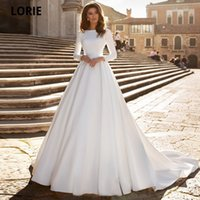 Muslim White Satin Wedding Dresses with Full Sleeve Beach A-line Bridel Gown Court Train Lace Appliques Wedding Gown