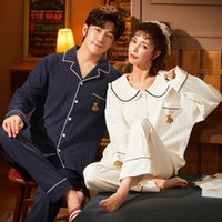 Nightwa Tatlı Pijama Sonbahar Pamuk Pijama Setleri Çift Pijama Aile Pijama Lover Gece Suit Sevimli Bebek Yaka Kadın Nightgown W1225