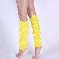 Diz Yüksek Kadınlar Örgü Nervürlü Bacak Isıtıcıları Çorap Moda Katı Renk Kış Spor Yoga Bacak Isıtıcı Çorap Çorap Bırak Gemi