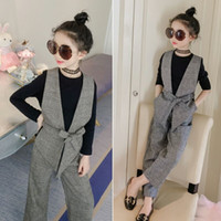 Teenage Girls Clothing Sets Autumn Plaid Vest T- shirts Pants...