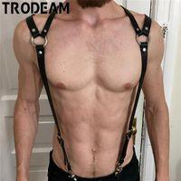 Gürtel Trodam Männer PU-Leder-Kabelbaum Sexy männliche Bondage Rave Brustgurt BDSM Punk-Körper einstellbar