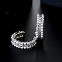 Stud xiumeiyizu Schlange Skin Design Perlen Ohrringe Gold / Rhodium plattiert Frauen Luxus Schmuck Gepflasterte CZ Stein Kupfer Geschenk1