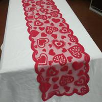 33x183 سنتيمتر الأحمر القلب نمط الجدول عداء الجدول القماش غطاء لعيد الحب يوم حفل زفاف الديكور المنزل المنسوجات المنزلية