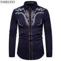 Camisas casuales para hombre Camisa bordada de moda de hombres Vaqueros occidentales Hombres de manga larga delgada Chemisa de rayas de oro Camisa Masculina XXL1