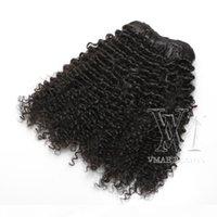 VMAE 페루 아프리카 곱슬 곱슬 곱슬 클립 인간의 머리카락 확장 3A 3B 3C 4A 4A 4B 4C 클립 120g 자연 색상
