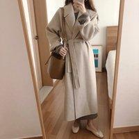 YAMDI women winter coat jacket female spring autumn woolen trench coat korean loose long outwear woman vintage runway soliid 201007