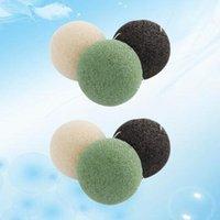 Schwämme, Applikatoren Baumwolle 3 STÜCKE Runde geformte Konjac-Schwämme Gesicht Waschblume Natürliche Gesichtspflege Reinigungsschwamm (Schwarz Grüner Lila)