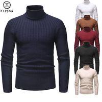 El invierno caliente de los hombres de cuello alto suéter de punto sólido de la manera adelgazan Jerseys Hombre Collar Doble Casual Suéteres para hombre Tire Homme
