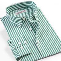 الرجال اللباس قمصان رجالية طويلة الأكمام القياسية تناسب القميص مخطط قميص الجيب أقل تصميم زر عارضة أسفل قميص القطن الرعاية السهل 1