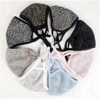 Mode staubdichte Bling Diamantschutz PM2.5 Mundmasken waschbare wiederverwendbare Frauen bunte Rhinestones Gesichtsmaske 1 Nng51