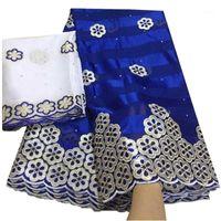 Nouveau tissu de la dentelle africaine Tissu de soie de haute qualité avec mousseline de soie à ruban de broderie avec pierres1