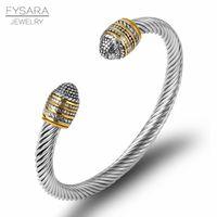 Joyería FYSARA 15 Diseño Cable de pares trenzados de alambre pulseras Brazalete clásico de marca para hombres de las mujeres de alambre Negro pulseras de diseño de regalos
