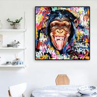 Sevimli Maymun Graffiti Sokak Sanatı Tuval Boyama Komik Hayvan Pop Sanat Posterler Ve Baskılar Banksy Soyut Duvar Resim Oturma Odası Dekor Için
