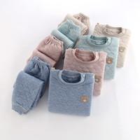 كيد بيجامة مجموعة بنين بنات القطن مبطن PJS أعلى والسروال للجنسين 3 طبقات للحفاظ على سميكة الملابس الدافئة الملابس طفل الملابس 201104