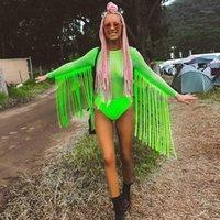 Neon Yeşil Fishnet Izgara Bodysuits Püsküller Uzun Kollu Tulum Kadınlar Parti Clubwear Rave Festivali Giyim Playsuit1