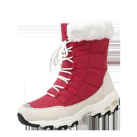 Bottes Qiwn Winter Femmes Haute Qualité Gardez une neige à mi-mollet chaud à lacets confortables Chaussures Femme1