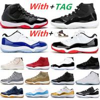 2020 novo 25º aniversário 11 concord 45 sapatos de basquete branco raçável metálico de prata e vestido ginásio vermelho 11s mulheres homens treinadores sneakers