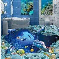Обои для стен 3 D для гостиной подводный мир 3d ванная комната напольная 3d пола картина обои