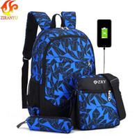 Ziranyu Mochila Masculina para Adolescentes Menino Sacos de Escola Crianças À Prova D 'Água Oxford USB Charge Design Bag Menino Backpack Schoolbag T200114