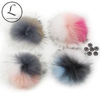 5шт Lot 15-16cm Большой DIY шерсти енота Мульти Pompom Fur Ball Для Трикотажные Hat Cap Шапочки шарфы Real Pom Pom с кнопкой Привязать